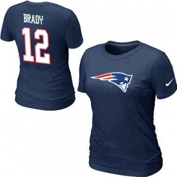 Women's New England Patriots Navy Blue Tom Brady Name & Number T-Shirt - By Nike