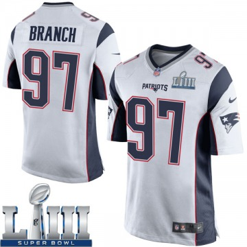 Youth New England Patriots Alan Branch White Game Super Bowl LIII Jersey By Nike