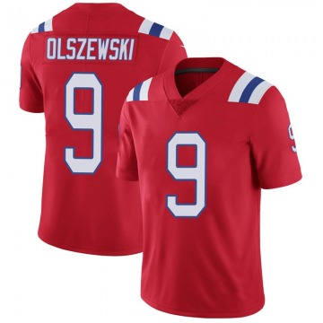 Youth New England Patriots Gunner Olszewski Red Limited Vapor Untouchable Alternate Jersey By Nike