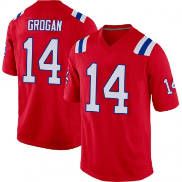 Youth New England Patriots Steve Grogan Red Game Alternate Jersey By Nike